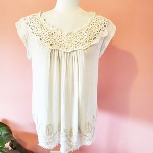 NEW Anthropologie Floreat Ivory Crochet Blouse